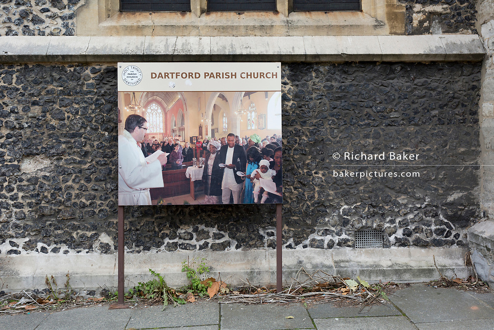 A sign showing a multi-ethnic congregation enjoying a Sunday Anglican service in Dartford who voted 64% in favour of Brexit during the 2016 referendum, at Dartford Parish Church, on 3rd October 2019, in Dartford, Kent, England