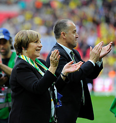Delia Smith applauds the Norwich City fans  - Photo mandatory by-line: Joe Meredith/JMP - Mobile: 07966 386802 - 25/05/2015 - SPORT - Football - London - Wembley Stadium - Middlesbrough v Norwich - Sky Bet Championship - Play-Off Final