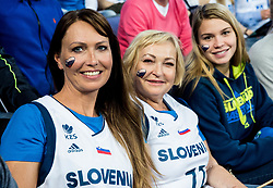 Mother Mirjam Poterbin, Grandmother and girlfriend Anamarija Goltes of  Luka Doncic of Slovenia as supporters of Slovenia during basketball match between National Teams of Finland and Slovenia at Day 3 of the FIBA EuroBasket 2017 at Hartwall Arena in Helsinki, Finland on September 2, 2017. Photo by Vid Ponikvar / Sportida