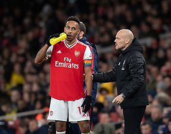 LONDON, ENGLAND - Thursday, December 5, 2019: Arsenal's care-taker manager Fredrik Ljungberg (R) with Pierre-Emerick Aubameyang during the FA Premier League match between Arsenal FC and Brighton & Hove Albion FC at the Emirates Stadium. (Pic by Vegard Grott/Propaganda)
