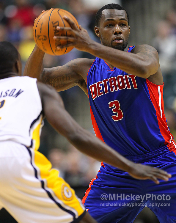 Feb. 23, 2011; Indianapolis, IN, USA; Detroit Pistons point guard Rodney Stuckey (3) looks to pass off the ball against the Indiana Pacers at Conseco Fieldhouse. Indiana defeated Detroit 102-101. Mandatory credit: Michael Hickey-US PRESSWIRE