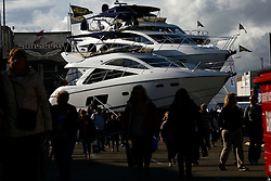 UK ENGLAND SOUTHAMPTON 17SEP11 - General view of Sunseeker motor yachts on display at the Sunseeker stand on the Southampton Boatshow...The Southampton Boat Show is the biggest water based boat show in Europe. It has been held every September since 1969 in Mayflower Park, Southampton, England.....jre/Photo by Jiri Rezac....© Jiri Rezac 2011