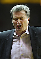 January 12 2010: Northwestern head coach Bill Carmody yells during the first half of an NCAA college basketball game at Carver-Hawkeye Arena in Iowa City, Iowa on January 12, 2010. Northwestern defeated Iowa 90-71.