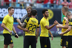 July 22, 2018 - Charlotte, NC, U.S. - CHARLOTTE, NC - JULY 22: (Photo by John Byrum/Icon Sportswire)CHARLOTTE, NC - JULY 22: Head coach Lucien Faure and Christian Pukisic (22) of Borussia Dortmund celebrates after defeating Liverpool at the International Champions Cup soccer match between Liverpool FC and Borussia Dortmund in Charlotte, N.C. on July 22, 2018. (Photo by John Byrum/Icon Sportswire) (Credit Image: © John Byrum/Icon SMI via ZUMA Press)