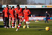 Matt Willock of Crawley Town warms up during the EFL Sky Bet League 2 match between Crawley Town and Macclesfield Town at The People's Pension Stadium, Crawley, England on 23 February 2019.