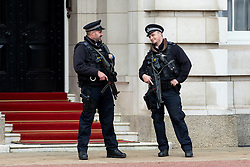 © Licensed to London News Pictures. 16/09/2017. London, UK. Armed security seen in Buckingham Palace, following a terror attack in Parsons Green, West London yesterday (Friday) morning. Last night, British Prime Minister Theresa May raised the terror threat level from severe to critical. The terror suspect is still at large. Photo credit : Tom Nicholson/LNP