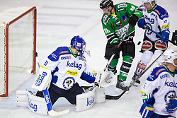 26.09.2014, Hala Tivoli, Ljubljana, SLO, EBEL, HDD Telemach Olimpija Ljubljana vs EC VSV, 5. Runde, in picture Rok Leber (HDD Telemach Olimpija, #18) vs Brock McBride (EC VSV, #10) and Thomas Honeckl (EC VSV, #31) during the Erste Bank Icehockey League 5. Round between HDD Telemach Olimpija Ljubljana and EC VSV at the Hala Tivoli, Ljubljana, Slovenia on 2014/09/26. Photo by Matic Klansek Velej / Sportida