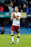 Jake Reeves (4) of Bradford City applauds the travelling fans as he celebrates the 1-0 win over Portsmouth at full time during the EFL Sky Bet League 1 match between Portsmouth and Bradford City at Fratton Park, Portsmouth, England on 28 October 2017. Photo by Graham Hunt.