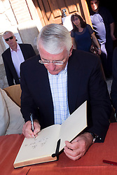 John Major in Candeleda. <br /> Former British Prime Minister Sir John Major goes to Candeleda (Avila, Castilla-Leon). The Candeleda city council decided to give John Major's name to a street to honour him, along with his wife Norma Wagstaff, former British foreign minister Tristan Garel Jones and his wife Atalina Garrigues, the Candeleda Mayor Jose Maria Monforte (R)and political Castilians, Candeleda. Avila. Castilla Leon. Spain.<br /> Saturday 31st August, 2013. Picture by DyD Fotografos / i-Images<br /> SPAIN OUT