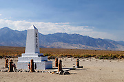 A memorial at the Manzanar National Historic Site commemorates the Japanese Americans that were interned during World War II.