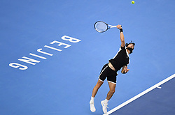 BEIJING, Oct. 7, 2018  Nikoloz Basilashvili of Georgia serves during the men's final against Juan Martin del Potro of Argentina at the China Open tennis tournament in Beijing, capital of China on Oct. 7, 2018. Basilashvili won 2-0 and claimed the title. (Credit Image: © Xinhua via ZUMA Wire)