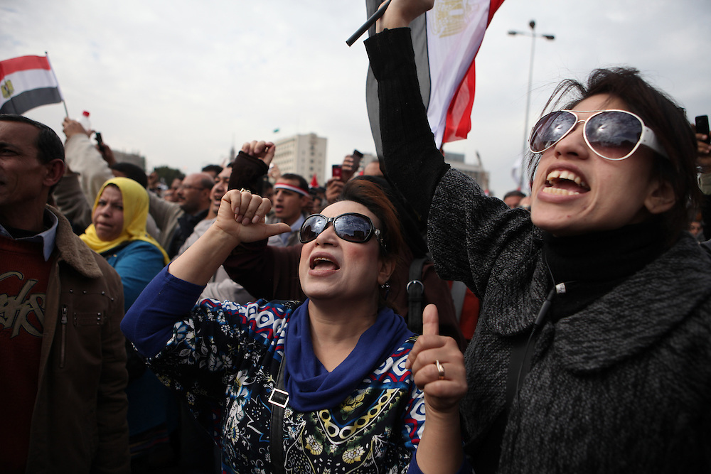 """On """"Sunday of the martyrs"""" at Tahrir Square, Egyptians call for the ouster of President Hosni Mubarak and commemorate the death of more than 300 people killed in clashes with government forces."""
