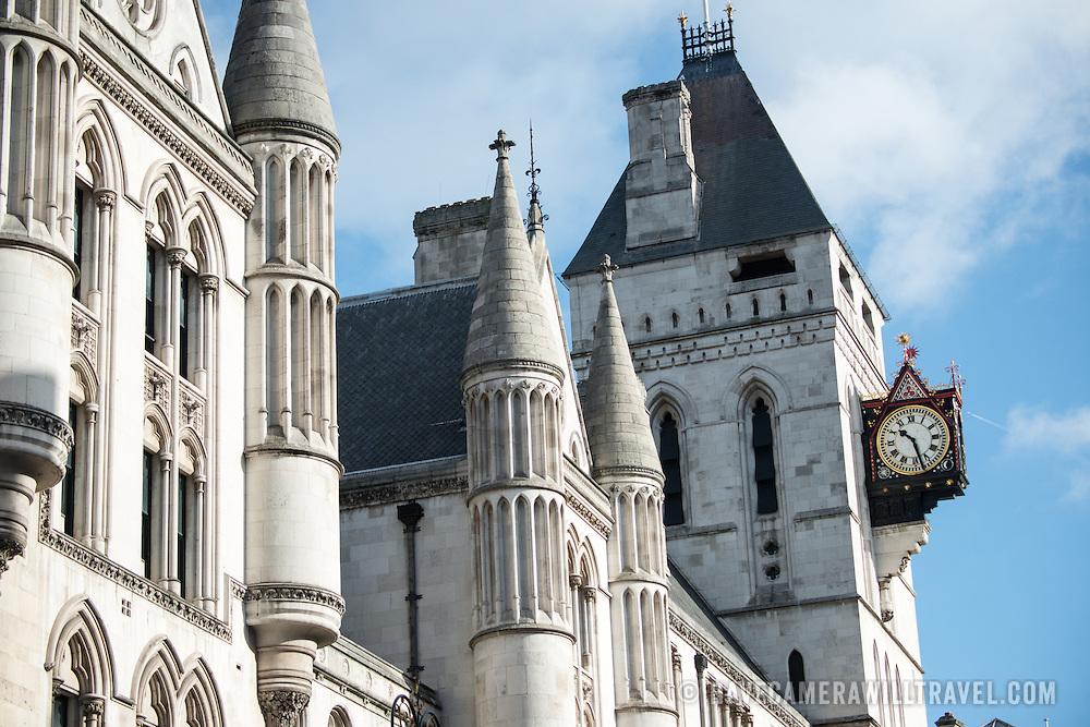Ornate buildings on Fleet Street in central London.
