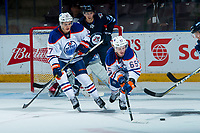 PENTICTON, CANADA - SEPTEMBER 9: Kirill Maksimov #57 and Chad Butcher #65 of Edmonton Oilers clear the puck from the zone against the Winnipeg Jets on September 9, 2017 at the South Okanagan Event Centre in Penticton, British Columbia, Canada.  (Photo by Marissa Baecker/Shoot the Breeze)  *** Local Caption ***