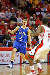 "06 January 2007: Cole Holmstrom looks for a way past Keith ""Boo"" Richardson. The Sycamores of Indiana State University topped the Redbirds home 54 - 50 inside Redbird Arena in Normal Illinois on the campus of Illinois State University.<br />"