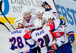 Ales Kranjc of Slovenia, Sabahudin Kovacevic of Slovenia, Rok Pajic of Slovenia, Tomaz Razingar of Slovenia and David Rodman of Slovenia celebrate during ice-hockey match between Slovenia and Japan at IIHF World Championship DIV. I Group A Slovenia 2012, on April 16, 2012 in Arena Stozice, Ljubljana, Slovenia. (Photo by Vid Ponikvar / Sportida.com)