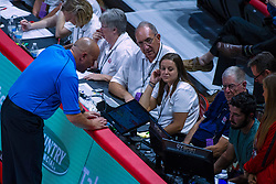 BLOOMINGTON, IL - September 14: Official Dean Hoskin works a call challenge at the instant replay screen during a college Women's volleyball match between the ISU Redbirds and the University of Central Florida (UCF) Knights on September 14 2019 at Illinois State University in Normal, IL. (Photo by Alan Look)