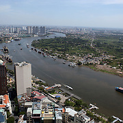 A panoramic view of Ho Chi Minh City showing the Saigon River from the viewing level of The Bitexco Financial Tower in Ho Chi Minh City, Vietnam. 3rd March 2012. Photo Tim Clayton