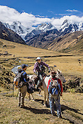 Trekker rides horse assisted by support staff under icy Nevado Jirishanca (left: Icy Beak of the Hummingbird, 6126 m or 20,098 feet) and Yerupaja Grande (right: 6635 m or 21,770 ft) near Incahuain settlement. Day 9 of 9 days trekking around the Cordillera Huayhuash in the Andes Mountains, near Llamac, Peru, South America.