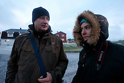 NORWAY ANDENES 7DEC15 - Greenpeace campaigners Christian Bussau and Larissa Baeumer in the town of Andenes, Vesteralen, Norway.<br /> <br /> jre/Photo by Jiri Rezac / Greenpeace<br /> <br /> © Jiri Rezac 2015