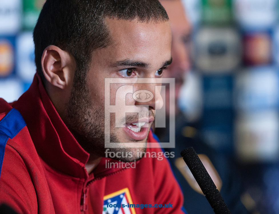 Mario Suarez of Atletico Madrid during a press conference at Stamford Bridge, London ahead of their UEFA Champions League semi final second leg against Chelsea.<br /> Picture by Daniel Hambury/Focus Images Ltd +44 7813 022858<br /> 29/04/2014