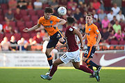 Oldham Athletic defender Rob Hunt (23) heads the ball  during the EFL Sky Bet League 1 match between Northampton Town and Oldham Athletic at Sixfields Stadium, Northampton, England on 5 May 2018. Picture by Dennis Goodwin.