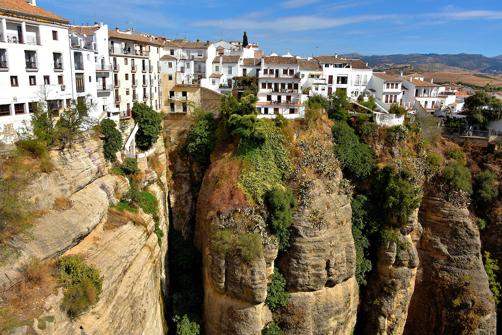 White Houses atop El Tajo Gorge in Ronda, Spain <br />