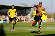 Burton Albion midfielder Lloyd Dyer (11) scores a goal 1-1 and celebrates during the EFL Sky Bet Championship match between Burton Albion and Aston Villa at the Pirelli Stadium, Burton upon Trent, England on 8 April 2017. Photo by Richard Holmes.