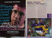 All Ireland Senior Hurling Championship Final,.09.09.2001, 9th September 2001,.Minor Cork 2-10, Galway 1-8,.Senior Tipperary 2-18, Galway 2-15,  .09092001AISHCF,.The Irish Times,
