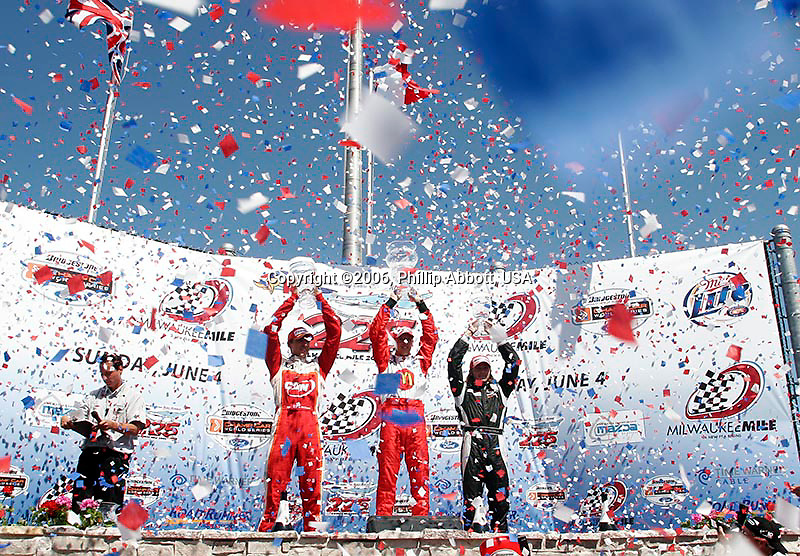 2-4, June, 2006, Milwaukee, Wisconsin, USA.<br /> Justin Wilson (P2), Sebastien Bourdais (P1) and Nelson Philippe (P3).<br /> © 2006 Phillip Abbott/USA<br /> LAT Photographic