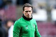 Dorus de Vries (#24) of Celtic warms up ahead of the Ladbrokes Scottish Premiership match between Heart of Midlothian and Celtic at Tynecastle Stadium, Gorgie, Scotland on 17 December 2017. Photo by Craig Doyle.