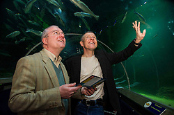 Pictured: Peter Barrett and Willie Rennie<br /> <br /> Scottish Liberal Democrat leader Willie Rennie focused on the environment on the Holyrood campaign trail as he visited Deep Sea World with Mid-Scotland and Fife candidate Peter Barrett<br /> <br /> Ger Harley | EEm 26 March 2016