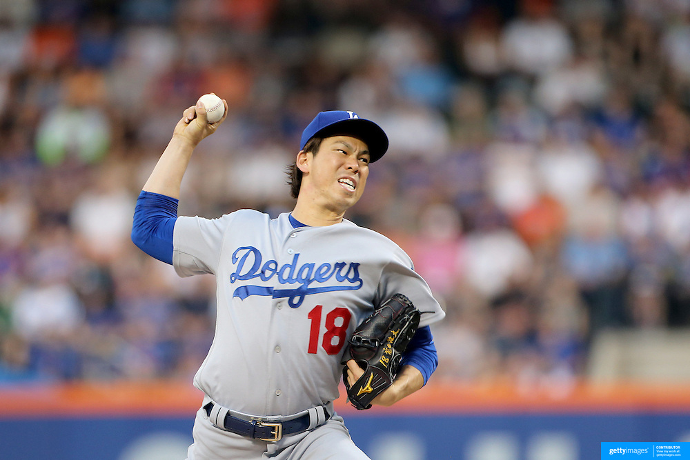 NEW YORK, NEW YORK - May 28:  Pitcher Kenta Maeda #18 of the Los Angeles Dodgers pitching during the Los Angeles Dodgers Vs New York Mets regular season MLB game at Citi Field on May 28, 2016 in New York City. (Photo by Tim Clayton/Corbis via Getty Images)