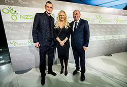 Milivoje Novakovic, Katja Fasink and Radenko Mijatovic during Traditional New Year party of of the Slovenian Football Association - NZS, on December 18, 2017 in Kongresni center, Brdo pri Kranju, Slovenia. Photo by Vid Ponikvar / Sportida
