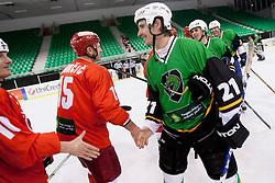 Players during Humanitarian hockey derby of legends between Olimpija and Jesenice, on 7 March 2014, in Hala Tivoli, Ljubljana, Slovenia. Photo by Urban Urbanc / Sportida.com
