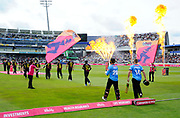 Someerset and Sussex walk out to play during the Vitality T20 Finals Day Semi Final 2018 match between Worcestershire Rapids and Lancashire Lightning at Edgbaston, Birmingham, United Kingdom on 15 September 2018.