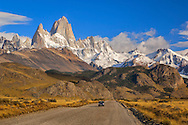 South America; Argentina; Patagonia; Fity Roy; Andes mountains near  El Chalten with Mount Fitz Roy