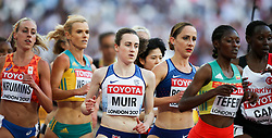 London, August 10 2017 . Laura Muir, Great Britain, in the women's 5,000m heats on day seven of the IAAF London 2017 world Championships at the London Stadium. © Paul Davey.