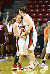 15 March 2012:  Megan Grace give Jamie Russell at the end of the game during a first round WNIT basketball game between the Central Michigan Chippewas and the Illinois Sate Redbirds at Redbird Arena in Normal IL
