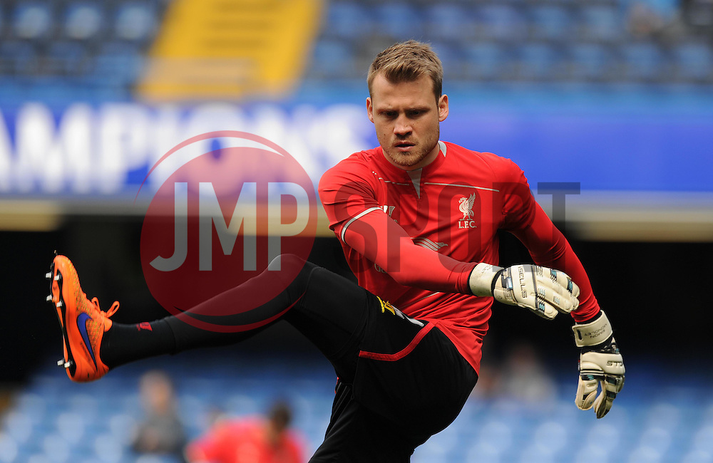 Liverpool's Simon Mignolet warms up prior to kick off. - Photo mandatory by-line: Alex James/JMP - Mobile: 07966 386802 - 10/05/2015 - SPORT - Football - London - Stamford Bridge - Chelsea v Liverpool - Barclays Premier League