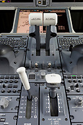 Detail of cockpit instruments in the Airbus A220-300 at the Farnborough Airshow, on 18th July 2018, in Farnborough, England.