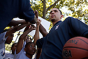 {June 27, 2012} {4:00pm} -- New York, NY, U.S.A.Duke basketball star Austin Rivers cheers with kids after playing ball at the Dunlevy Milbank Boys & Girls Club in Harlem before the NBA draft Thursday in Manhattan, New York on June 27, 2012. .
