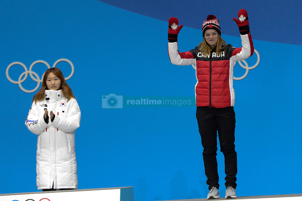 February 18, 2018 - Pyeongchang, South Korea - KIM BOUTIN of Canada celebrates getting the bronze medal in the Ladies' 1500m Short Track speed skating event in the PyeongChang Olympic Games. (Credit Image: © Christopher Levy via ZUMA Wire)