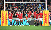 Lions players stand dejected on the goaline following a match winning Blues try in the dieing minutes of the match. <br /> Auckland Blues v British & Irish Lions, Eden Park, Auckland, New Zealand, Wednesday 7th June 2017<br /> Copyright photo: David Gibson / www.photosport.nz