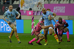 January 5, 2019 - Paris, France - Perpignan Centre AFUSIPA TAUMOEPEAU in action during the French rugby championship Top 14 match between Stade Francais and  Perpignan at Jean Bouin Stadium in Paris - France..Stade Franais won 27-8 (Credit Image: © Pierre Stevenin/ZUMA Wire)