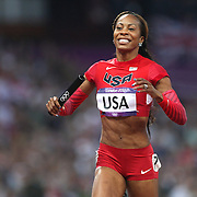 Sanya Richards-Ross, USA, celebrates the Women's 4 x 400 relay team winning the Gold Medal at the Olympic Stadium, Olympic Park, during the London 2012 Olympic games. London, UK. 11th August 2012. Photo Tim Clayton