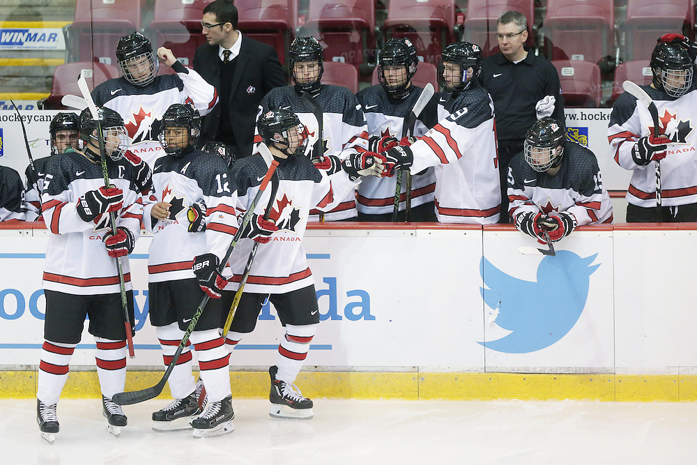 Team Canada White at the 2016 World Under-17 Challenge in Sault Ste. Marie, Ont. Photo by Kenneth Armstrong for CHL Images