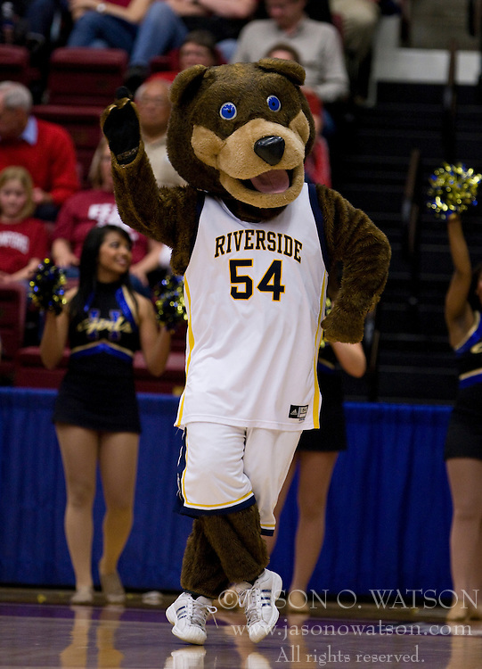 March 20, 2010; Stanford, CA, USA; The UC Riverside Highlanders mascot performs during the second half against the Stanford Cardinal in the first round of the 2010 NCAA womens basketball tournament at Maples Pavilion.  Stanford defeated UC Riverside 79-47.
