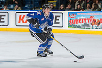 KELOWNA, CANADA - DECEMBER 30: Scott Walford #7 of the Victoria Royals skates with the puck against the Kelowna Rockets on December 30, 2016 at Prospera Place in Kelowna, British Columbia, Canada.  (Photo by Marissa Baecker/Shoot the Breeze)  *** Local Caption ***