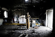 A destroyed church in Orissa's Kandhamal district, after it was allegedly stormed by Hindu fundamentalists. November 6, 2008. .In this district, some 400 km southwest of the state capital Bhubaneswar, at least 55 people  died and thousands fled their homes as a result of the Hindu violence against Christians in the coastal state of Orissa..The Catholic church accused police of failing to protect defenceless priests and nuns.